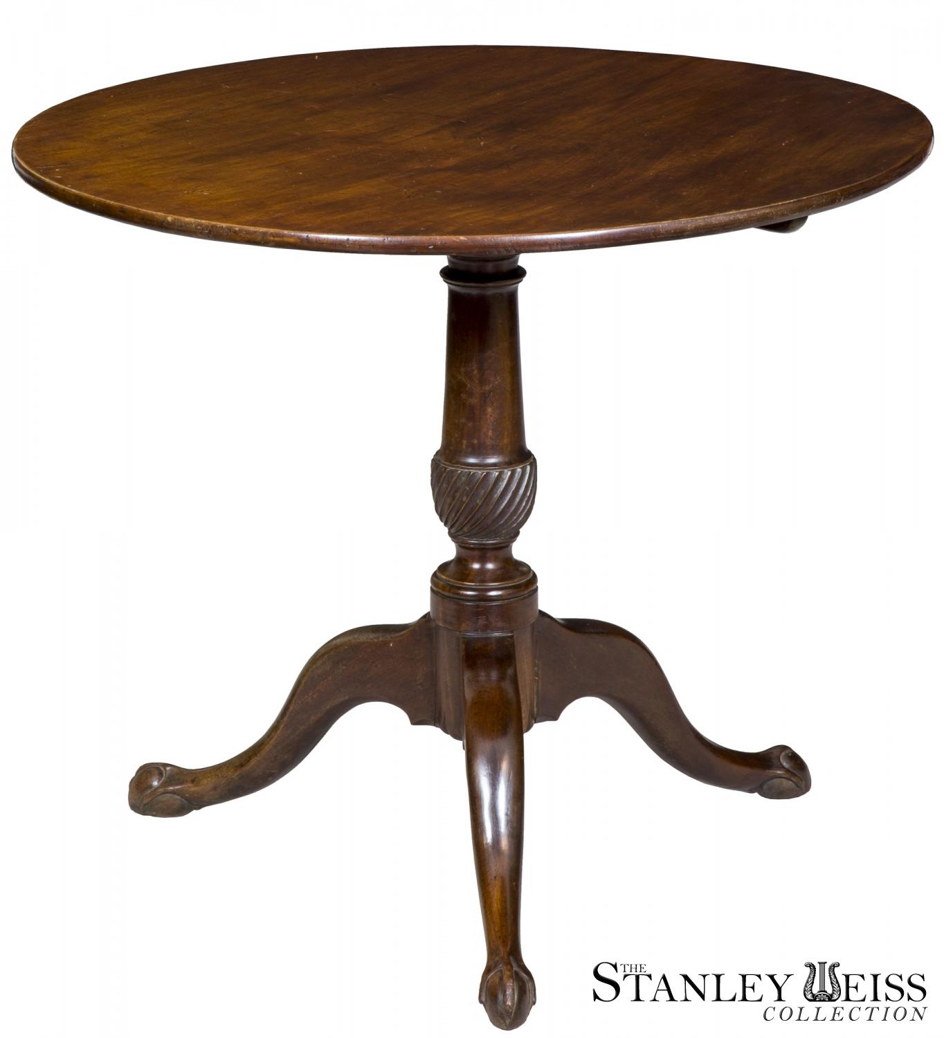 A Newport Chippendale Mahogany Tilt Top Table W Small Claw And Ball Feet Spiral Carved Column C 1780
