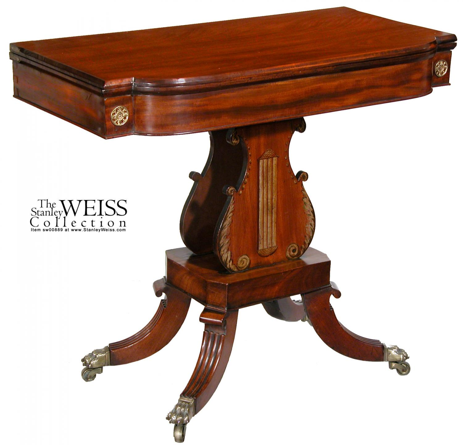 mahogany card table with faux painted lyre boston labeled elisha