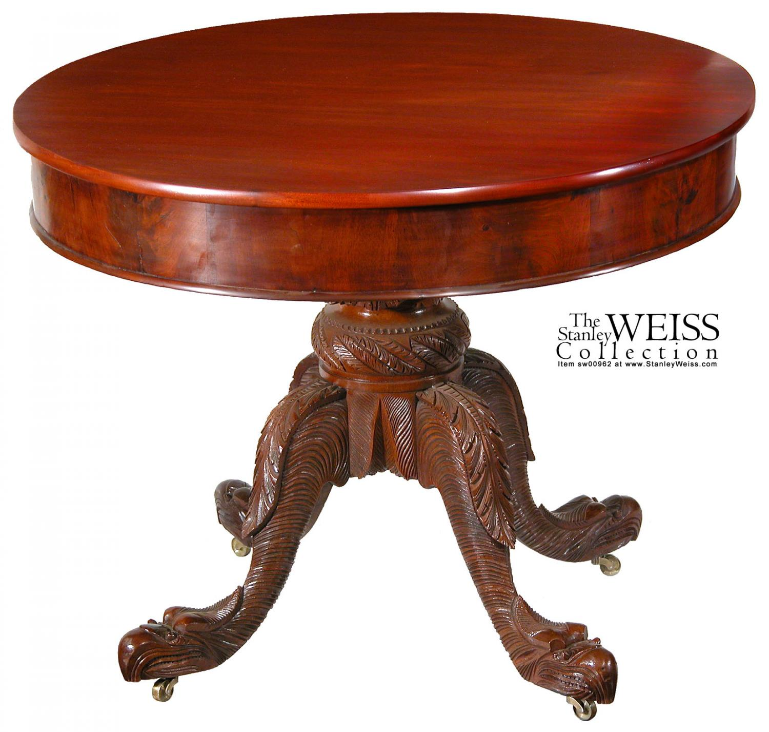 A Carved Mahogany Classical Center Table, Albany, NY c.1830-40, attributed  to Amariah T. Prouty, from the George A. Cluett Collection - A Carved Mahogany Classical Center Table, Albany, NY C.1830-40