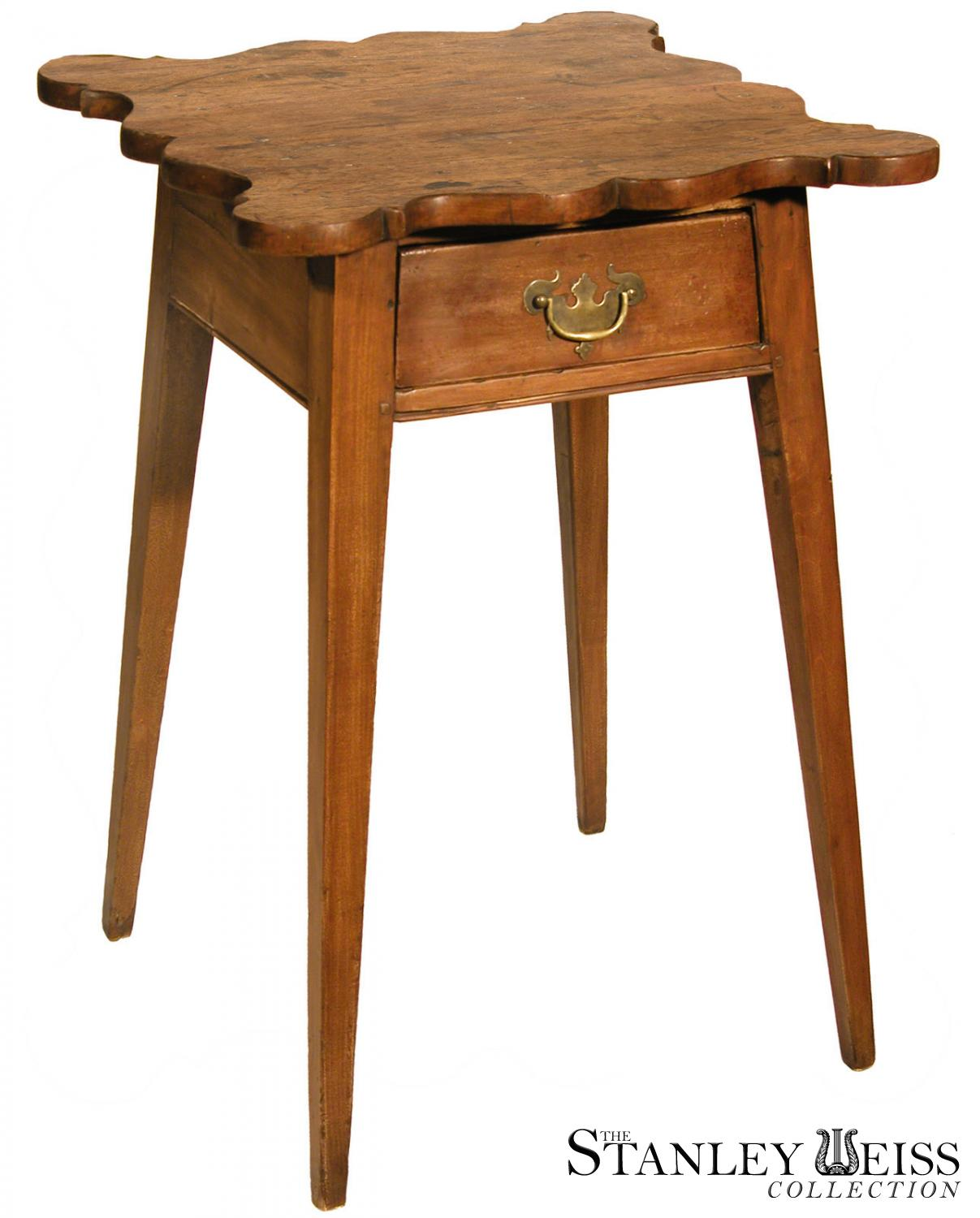 A Cherry Country Hepplewhite Bedside Table With Splayed Legs And Shaped  Top, Probably Connecticut, C.1790