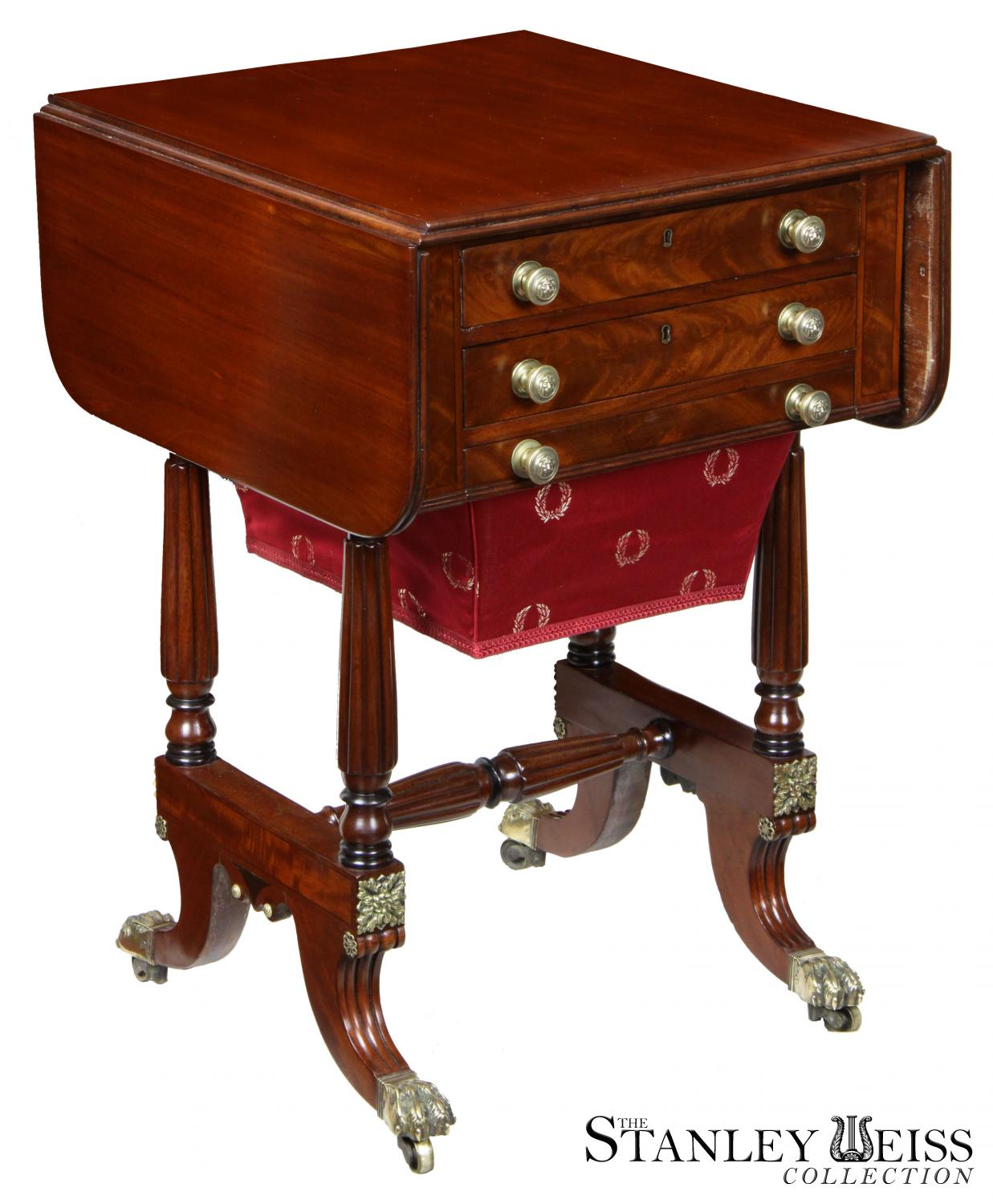 A Carved Mahogany Drop Leaf Sewing Table, Boston, Attributed To The Seymour  Shop, C.1815
