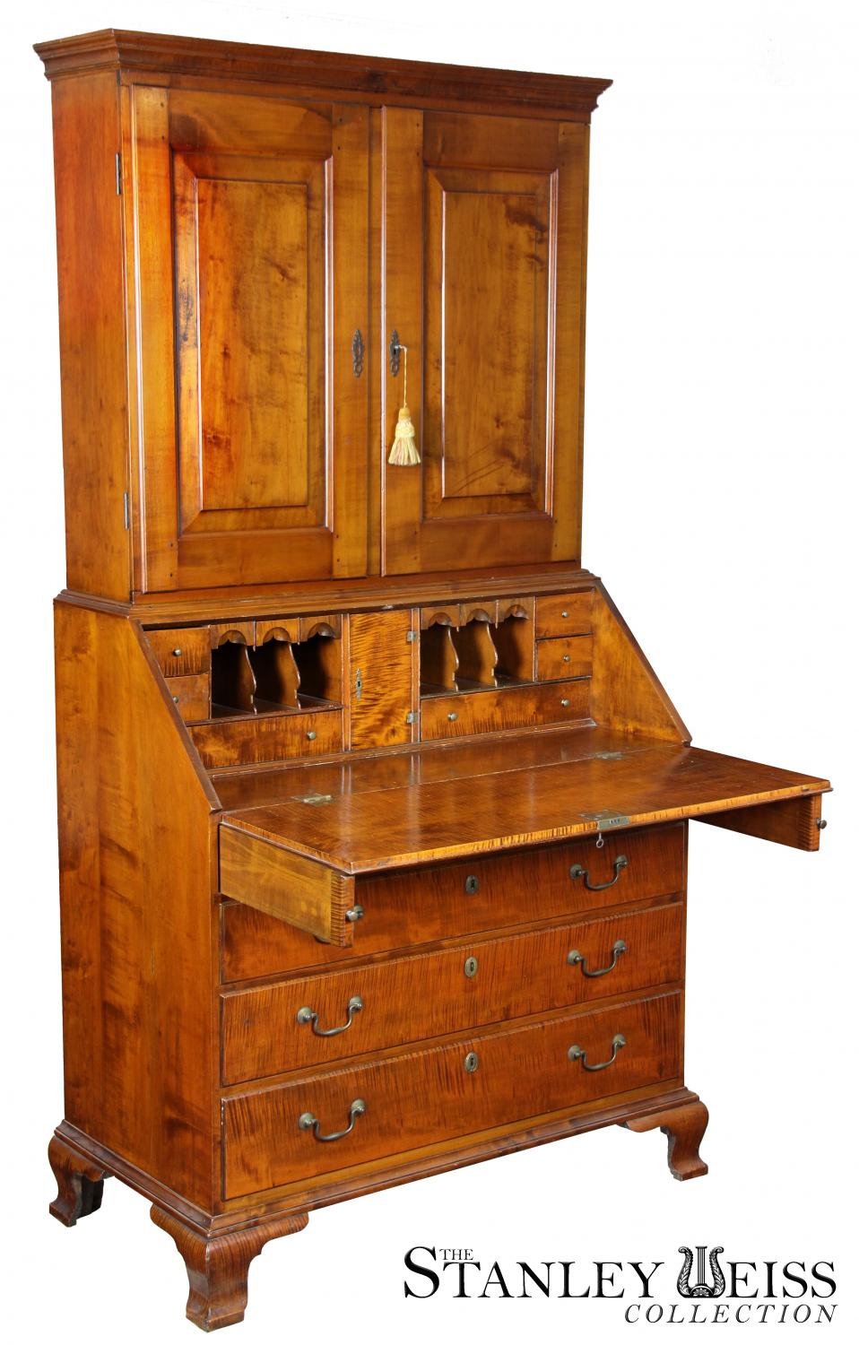 A Chippendale Tiger Maple Desk with Bookcase, Newport, c