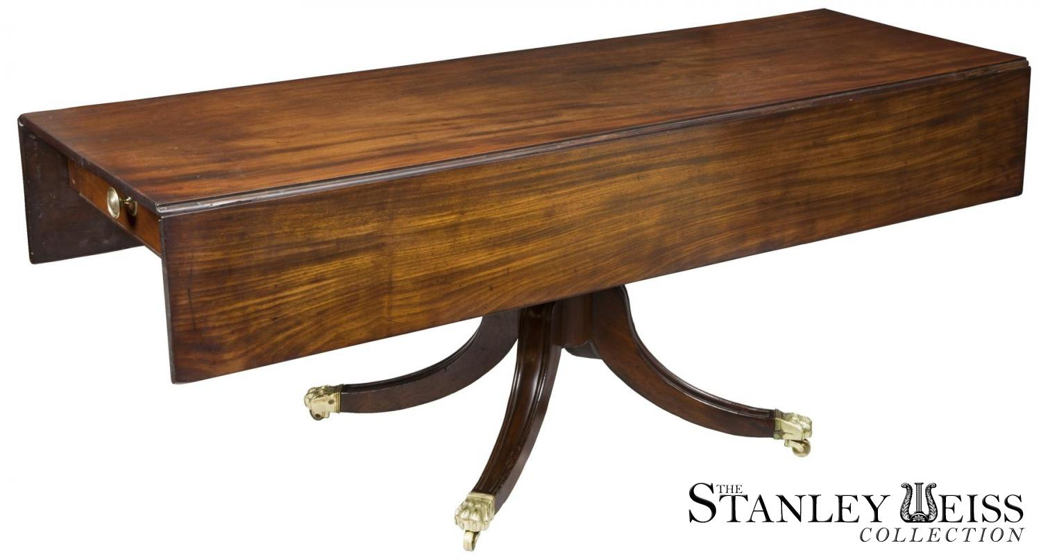 A Rare Large Pedestal Mahogany Classical Harvest Table, Boston, C.1820