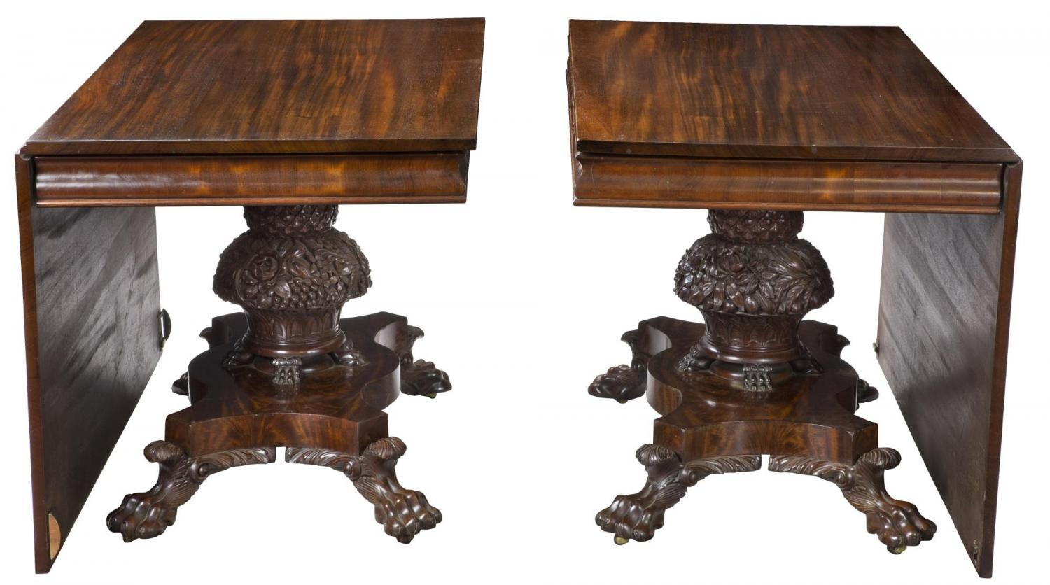 A Monumental Pedestal Classical Mahogany Dining Room Table Philadelphia Possibly Anthony Quervelle C1830