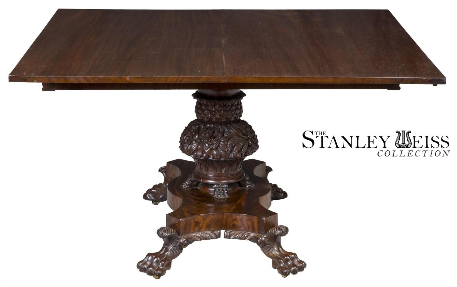 A Monumental Pedestal Classical Mahogany Dining Room Table