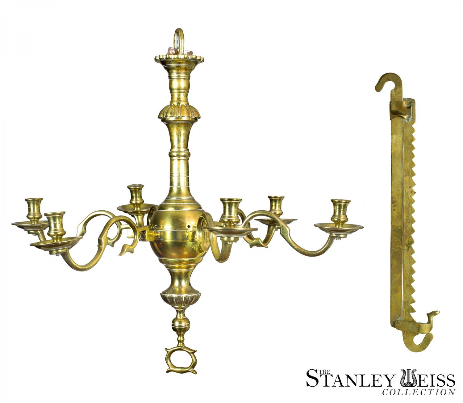A fine classic six light english brass chandelier with trammel both a fine classic six light english brass chandelier with trammel both c1750 arubaitofo Image collections
