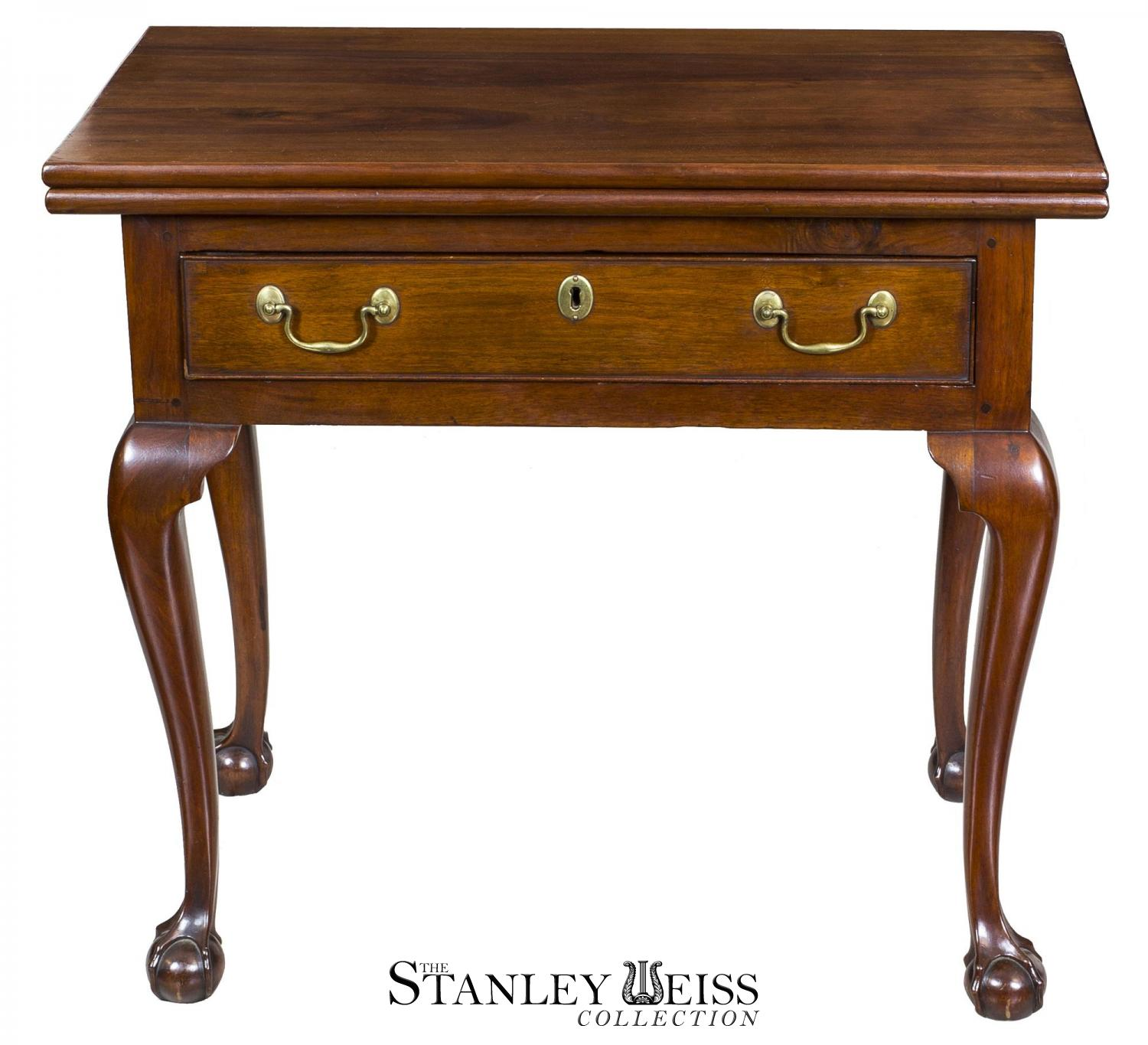 An Outstanding Walnut Chippendale Card Table With Full Drawer And Claw Ball Feet Philadelphia C 1780