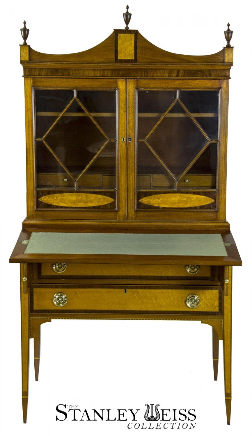 A Fine Federal Hepplewhite Inlaid Secretary Desk And Bookcase Display Case Gany Bird S Eye Maple Portsmouth New Hampshire C 1790 1810
