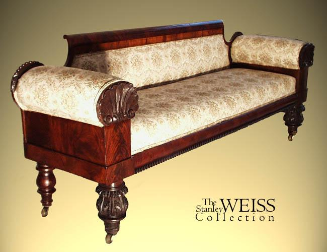 Mahogany Empire Sofa With Carved Ss Philadelphia C 1830