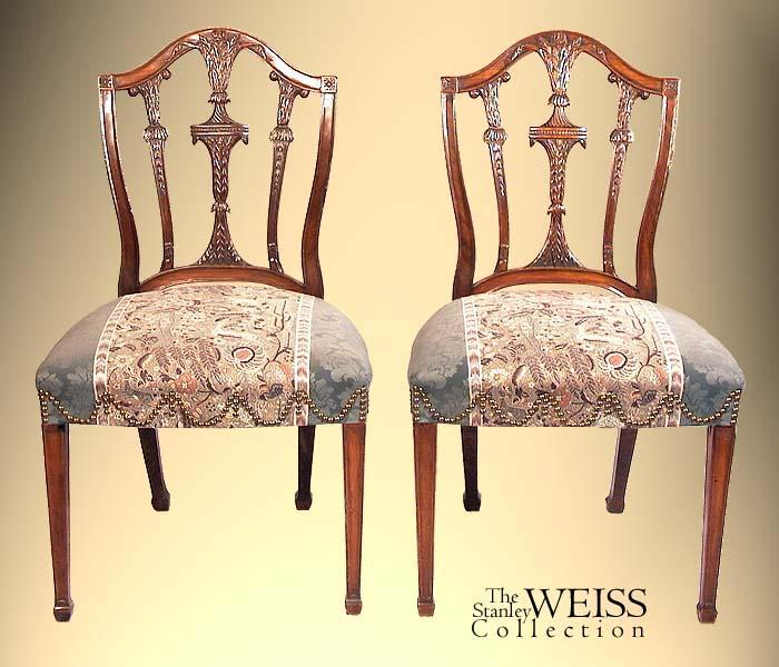 A Carved Pair Of English Hepplewhite Chairs, C.1790/1800
