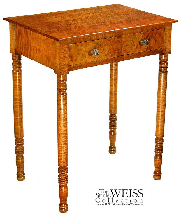 tiger maple bird 39 s eye maple two drawer workstand american c